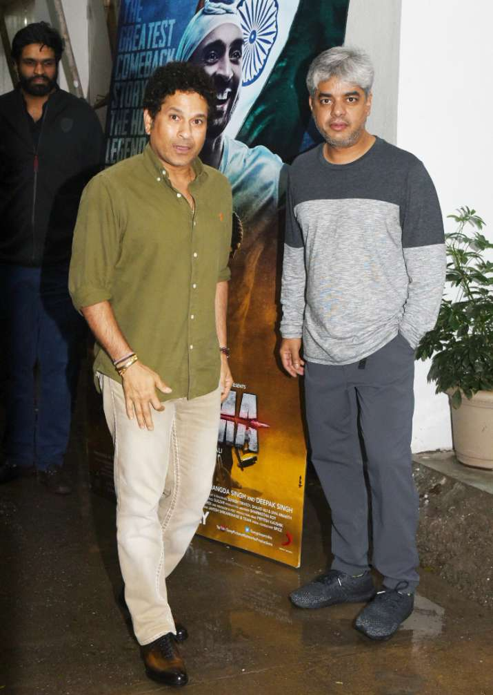 India Tv - Sachin Tendulkar arrived to watch Soorma special screening.