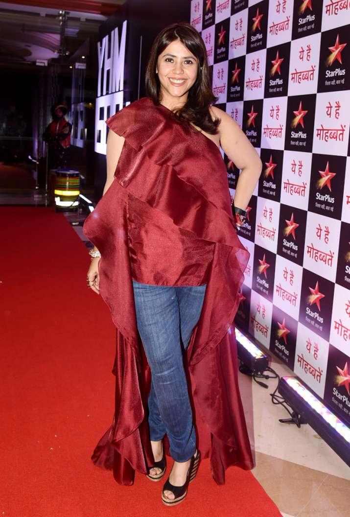 India Tv - Ekta Kapoor at Yeh Hai Mohabbatein success party