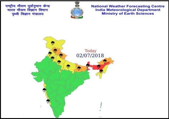 India Tv - MeT department has issued a warning of extremely heavy to heavy rainfall across several states today