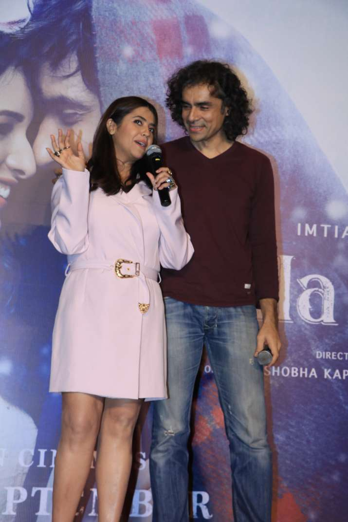 India Tv - Ekta Kapoor and Imtiaz Ali at Laila Majnu trailer launch event.
