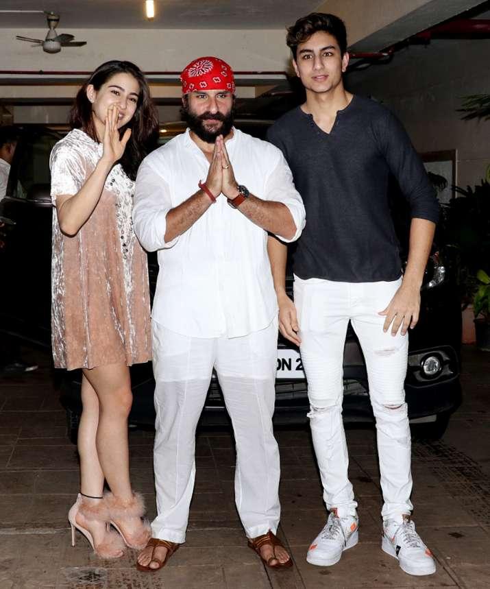 India Tv - Saif Ali Khan celebrated his birthday with kids Sara and Ibrahim.