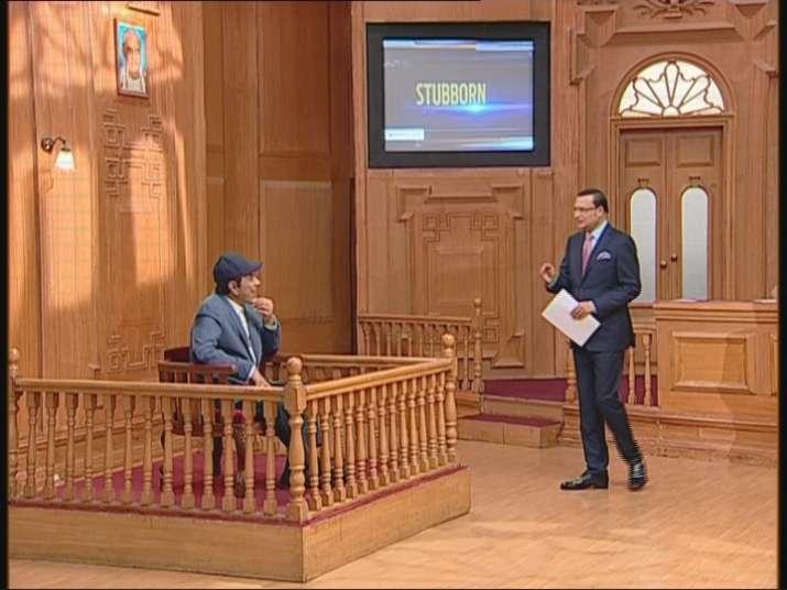 India Tv - Dharmendra facing questions from host Rajat Sharma on Aap Ki Adalat.
