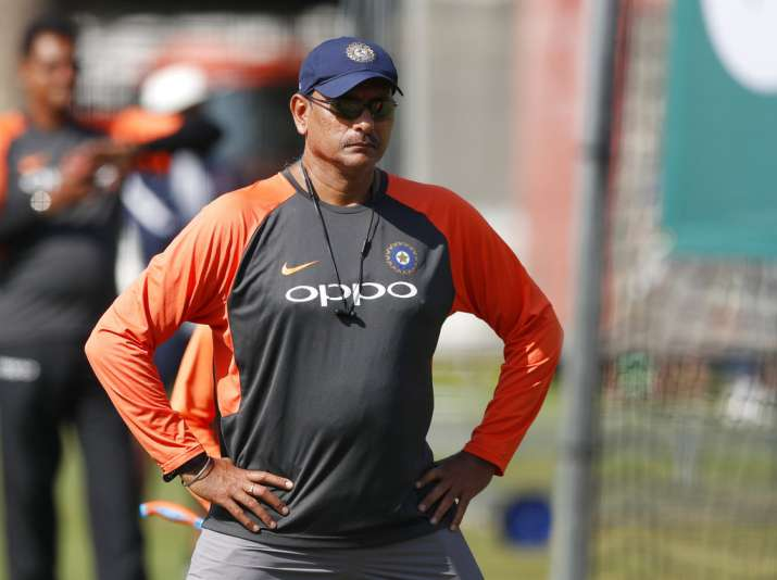 India Tv - Team India head coach Ravi Shastri was instructing his players as usual
