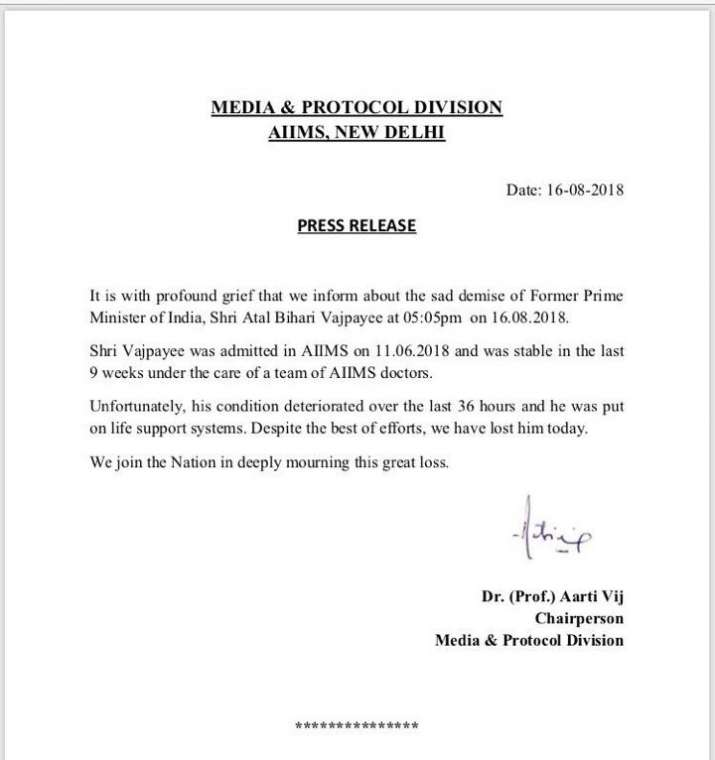 India Tv - AIIMS press release on Vajpayee death