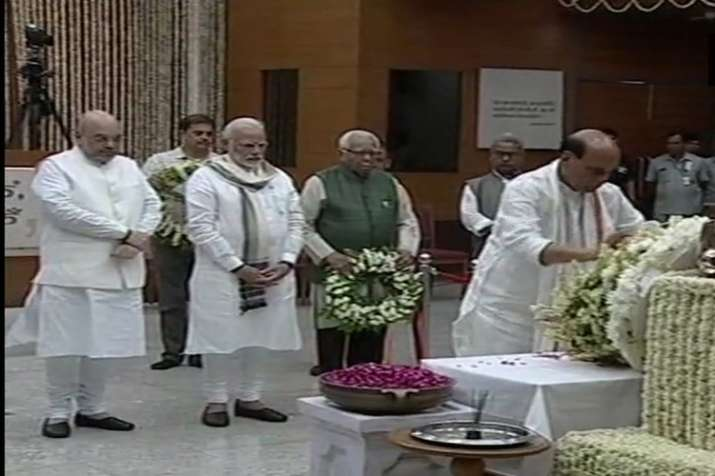India Tv - PM Modi, Home Minister Rajnath Singh, Amit Shah pay their last respects to Atal Bihari Vajpayee. (Photo/ANI)
