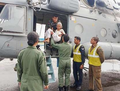 India Tv - Indian Air Force conducting rescue and evacuation drive in flood-affected regions of Kerala on Sunday.