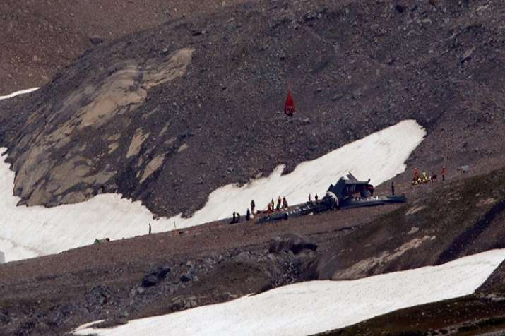 A view of crash site near Swiss Alps
