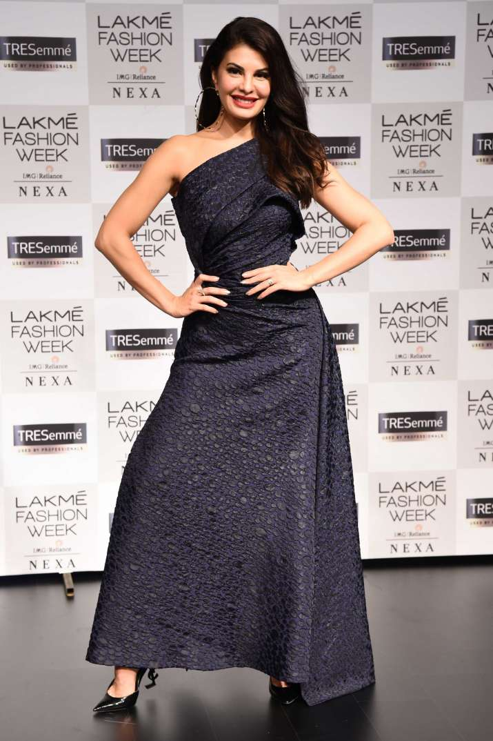 India Tv - Jacqueline Fernandez in a black single-shouldered gown