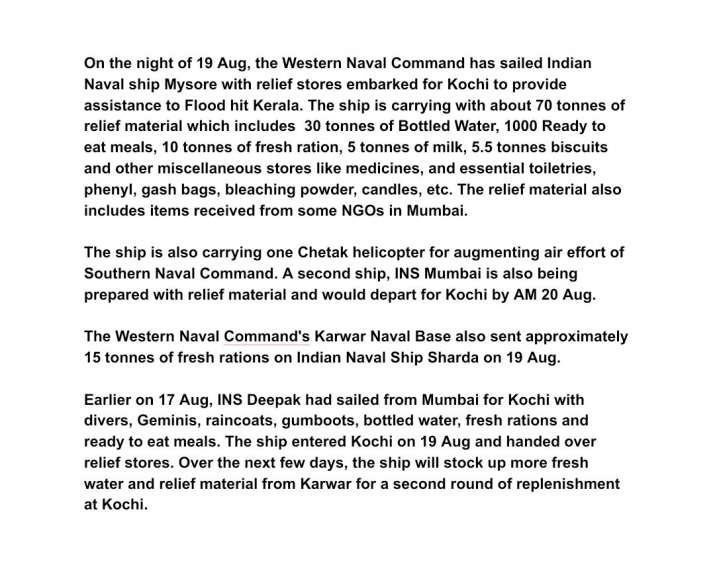 India Tv - Relief material for Kerala flood victims
