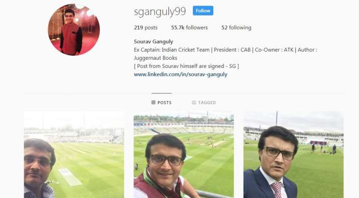 India Tv - A screenshot of Sourav Ganguly's fake Instagram account