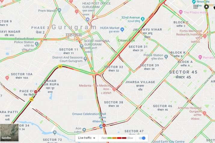 India Tv - Realtime traffic in Gurugram.  Almost all major roads witnessing heavy traffic jam. (Google Maps)