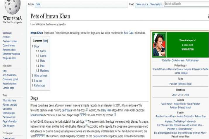 Wikipedia page showing details of pet dogs of Imran Khan.