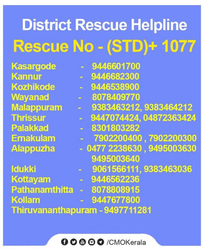 India Tv - Kerala Flood Fury: Helpline numbers, location of rescue camps