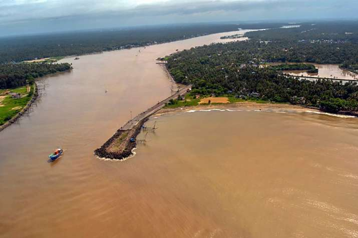 India Tv - An aerial view of flood-hit Aluva town in Kerala. (Photo/ANI)