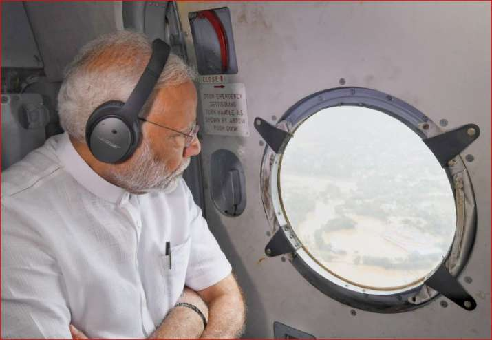India Tv - PM Modi conducts aerial survey in flood-affected areas of Kerala