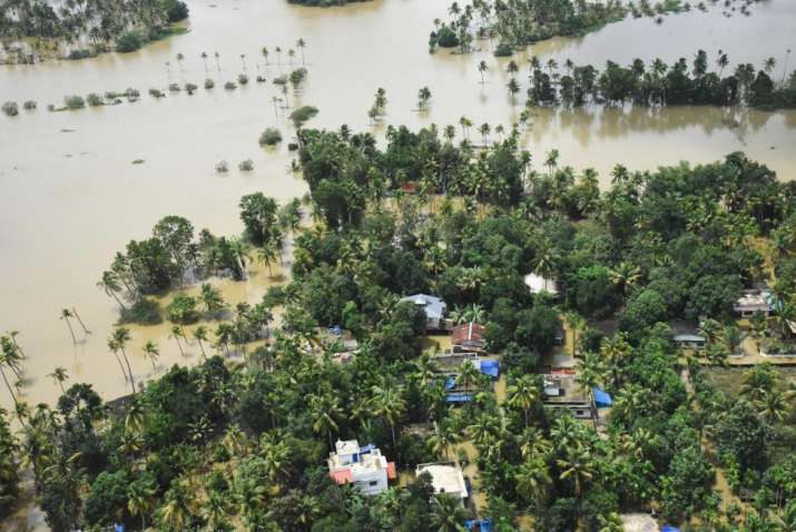 India Tv - Kochi: A view of the flood affected areas, in Kochi on Sunday