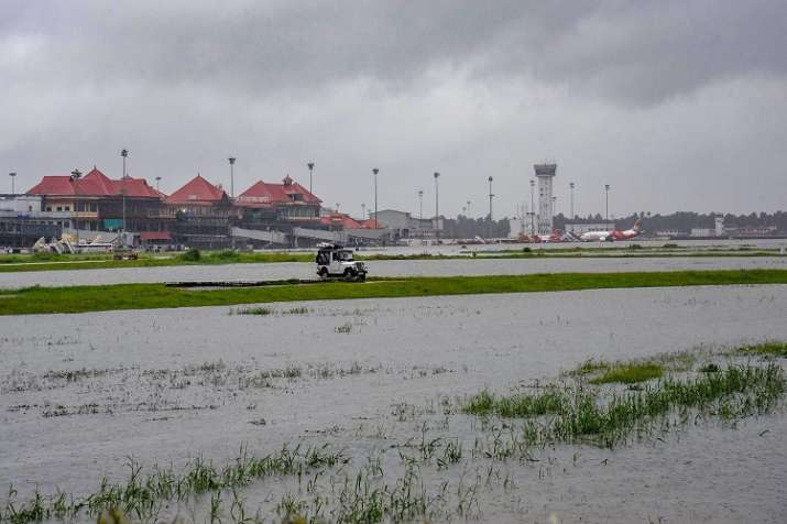 India Tv - All operations have been suspended at Kochi airport due to the flood. (Photo/PTI)