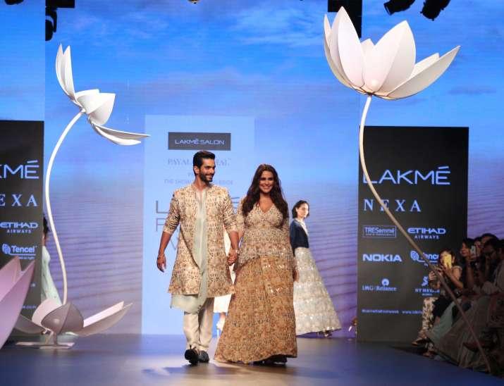 India Tv - Neha Dhupia and Angad Bedi walked the ramp for Payal Singhal at Lakme Fashion Week 2018