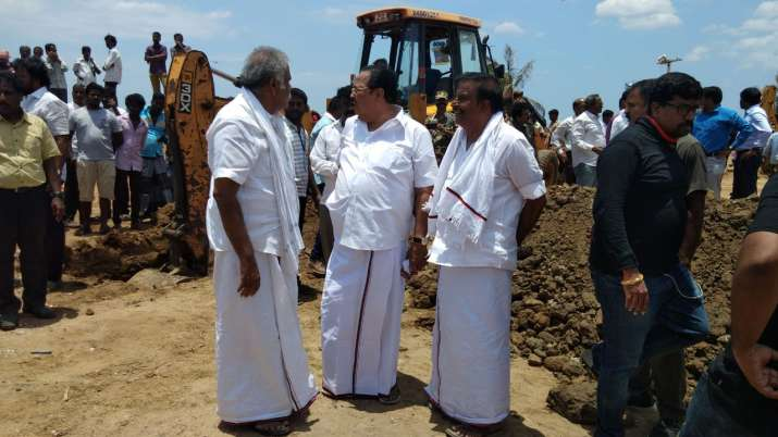 India Tv - DMK leaders inspect construction work at Marina Beach