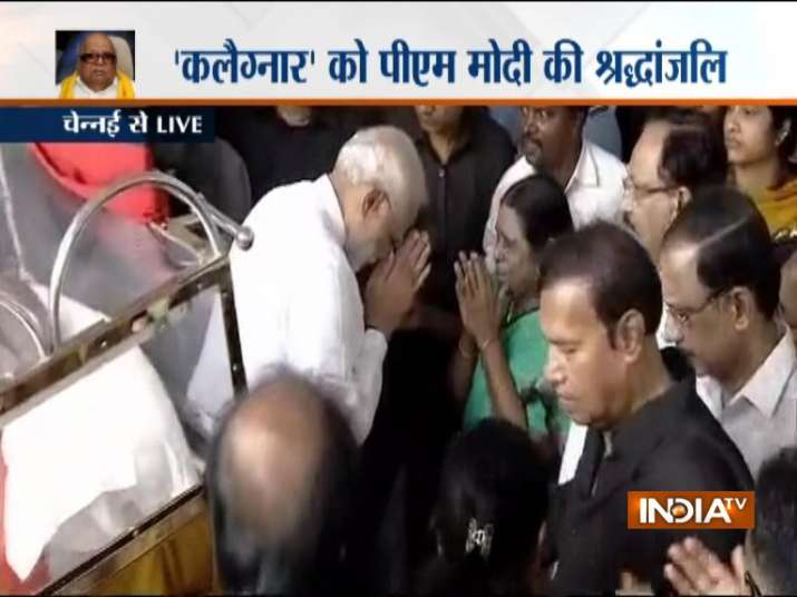 India Tv - Karunanidhi Funeral Latest Updates: PM Modi reaches Rajaji Hall to pay his last respects to Kalaignar