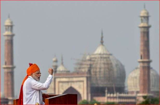 India Tv - PM Modi addressing nation from ramparts of Red Fort on 72nd Independence Day.