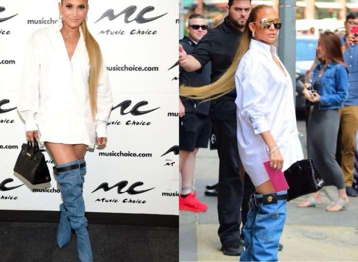 Jennifer Lopez wearing Versace denim boots