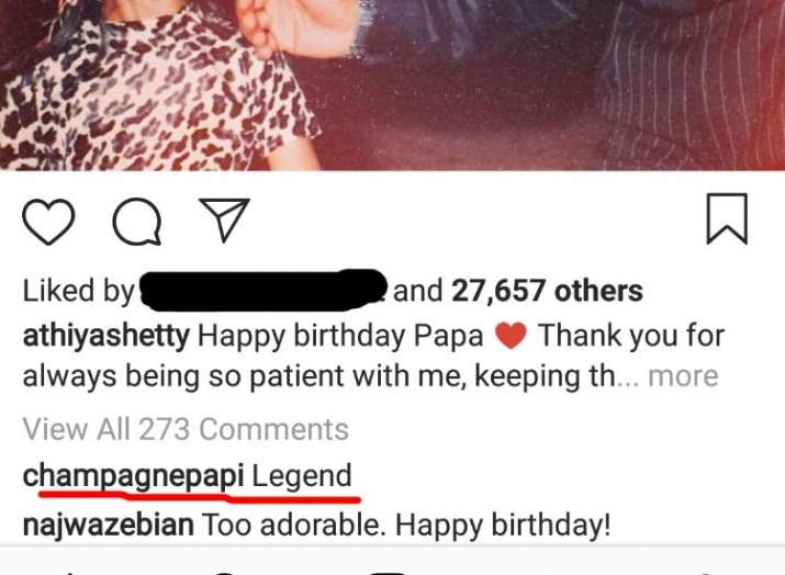 India Tv - Drake's comment on Athiya Shetty's post