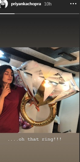 India Tv - Priyanka Chopra flaunts engagement balloon in new Instagram story.