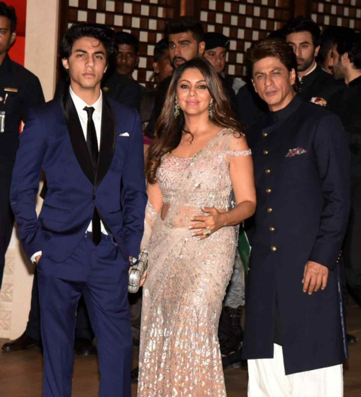 India Tv - Aryan Khan with SRK and Gauri Khan at Ambani party