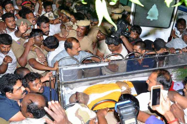 India Tv - Karunanidhi breathed his last in August 7, 2018 after a prolonged illness. (Photo/PTI)