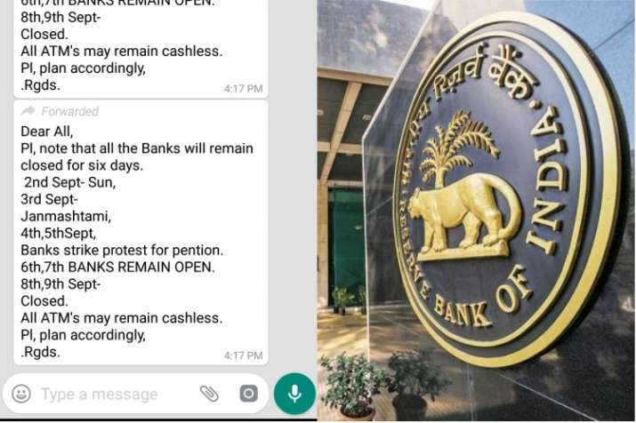 India Tv - Fake WhatsApp message about six-day bank holiday