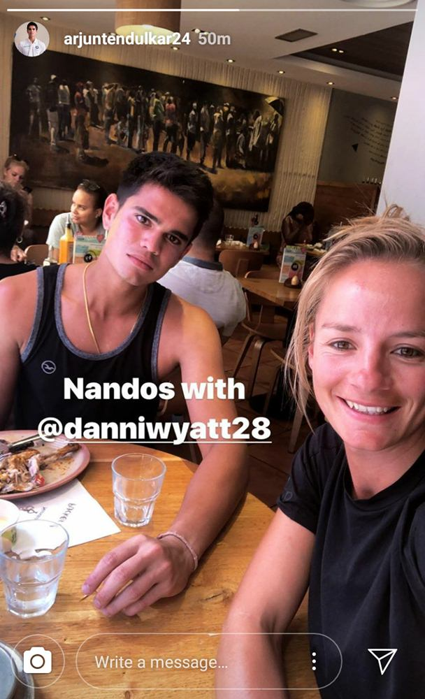 India Tv - Arjun Tendulkar with England woman cricketer Danielle Wyatt.