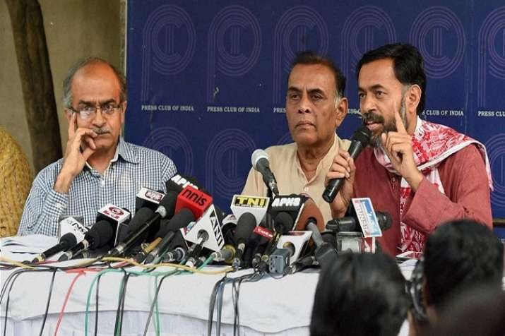 India Tv - Prashant Bhushan, Anand Kumar and Yogendra Yadav  (From left to right/ File Photo/PTI))