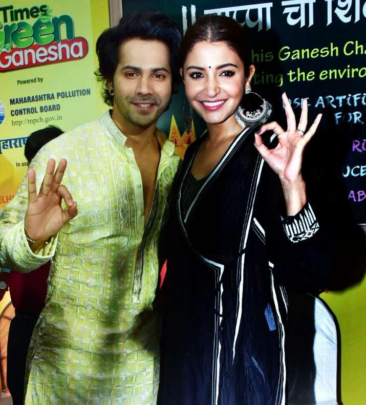 India Tv - Anushka Sharma and Varun Dhawan on Green Ganesha launch
