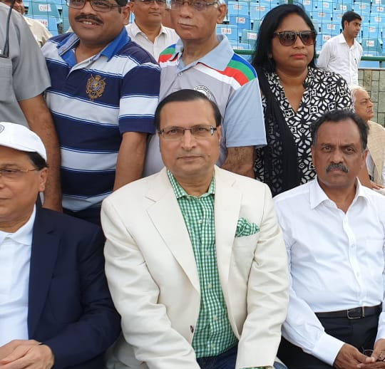 India Tv - Chief Justice of Delhi High Court Rajendra Menon (R) enjoys the annual T20 match at Feroz Shah Kotla