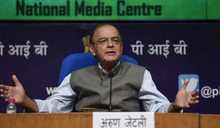 Finance Minister Arun Jaitley speaks during a press