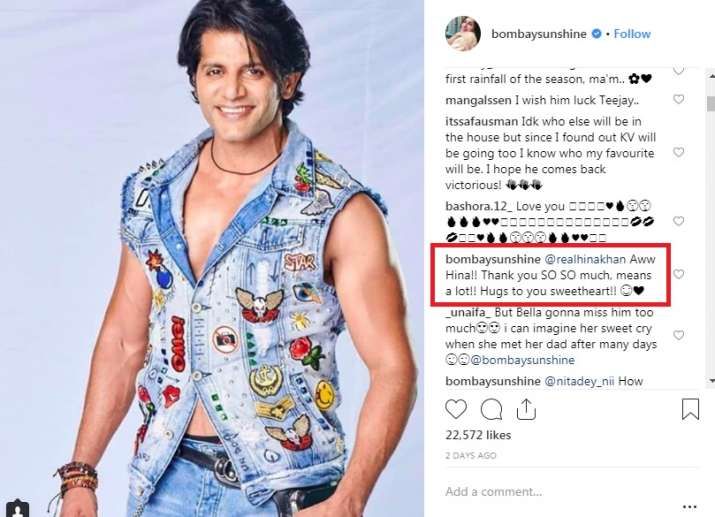 India Tv - Hina Khan delivers message for Karanvir Bohra's wife on Instagram