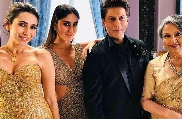 Shah Rukh Khan with Karisma, Kareena and Sharmila Tagore