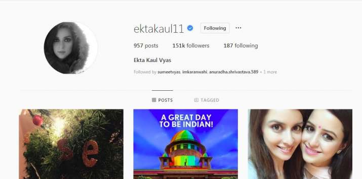 India Tv - Ekta Kaul changes name of Instagram