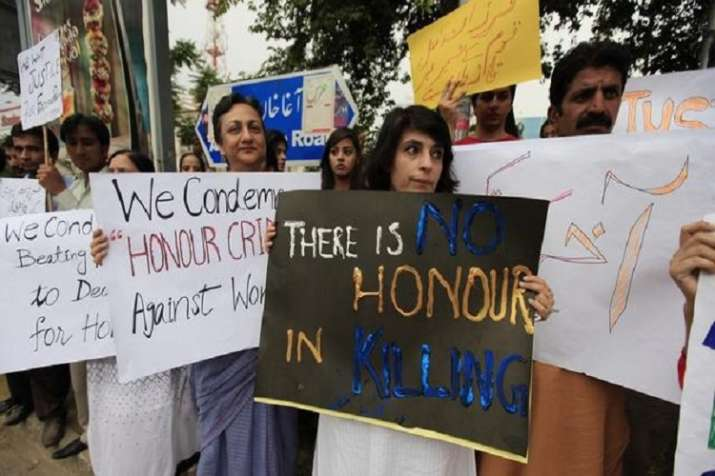 Members of civic society protesting against recent honour