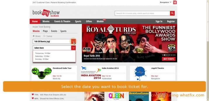 India Tv - BookMyShow booking