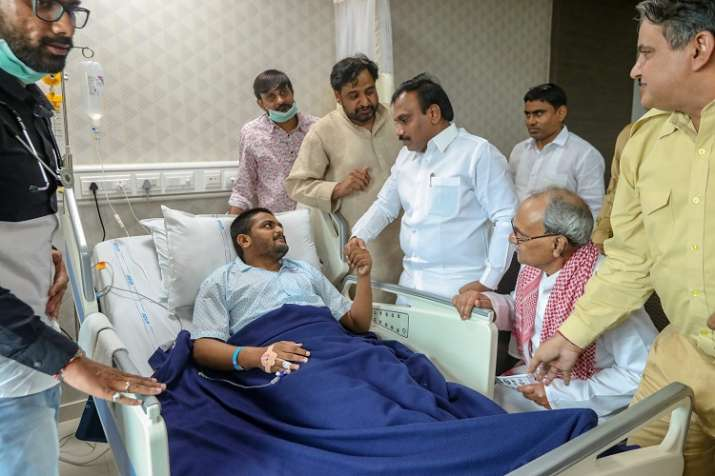 DMK leader A Raja meets Hardik Patel who has been on
