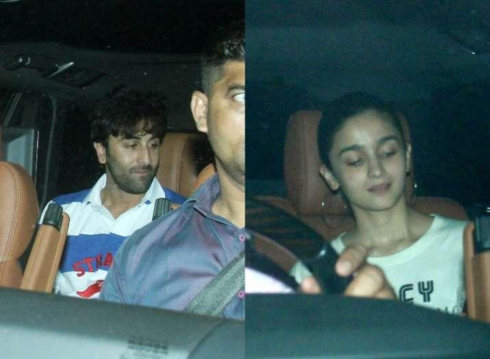 India Tv - Alia Bhatt and Ranbir Kapoor spotted outside Karan Johar's house