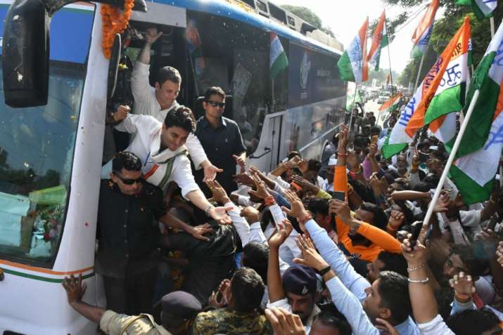 India Tv - Bhopal: Congress President Rahul Gandhi and party leader Jyotiraditya Scindia meet the supporters at a roadshow