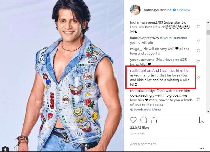 India Tv - Hina Khan's comment on Teejay Sidhu's post