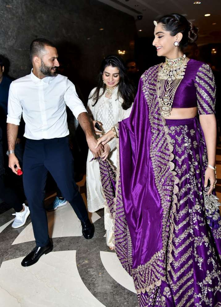 India Tv - Sonam Kapoor Ahuja and Anand Ahuja at an event in Delhi