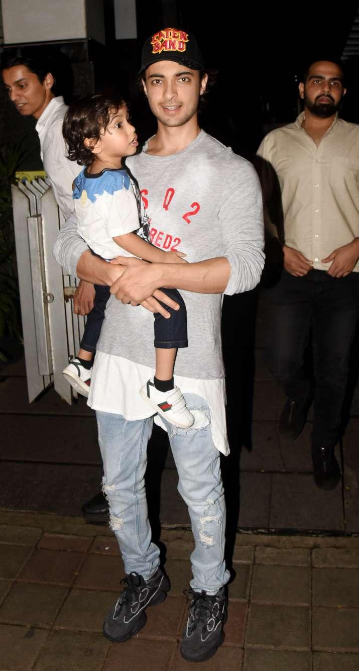 India Tv - Aayush Sharma with son Ahil