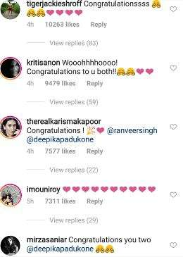 India Tv - Bollywood celebs congratulate Deepika Padukone, Ranveer Singh onweddingannouncement