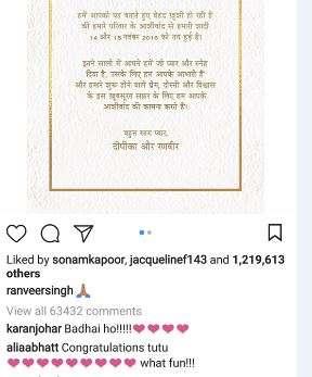 India Tv - Bollywood celebs congratulate Deepika Padukone, Ranveer Singh on wedding announcement