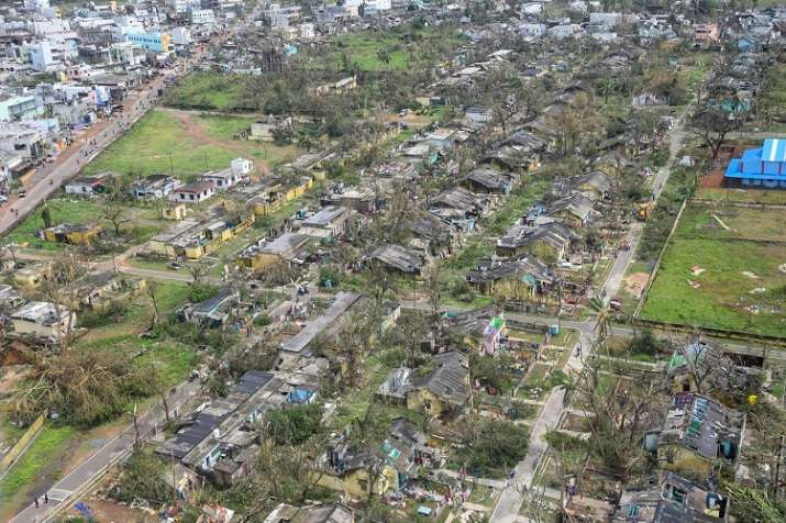India Tv - Andhra Pradesh Chief Minister N Chandrababu Naidu (unseen) during an aerial survey to take stock of areas affected by cyclone 'Titli' through an aerial survey, in Srikakulam.